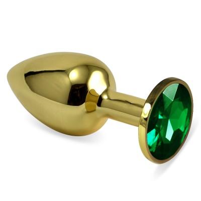 Анальная пробка золотая с зеленым кристаллом S 2,8 х 7,6 47098-MM