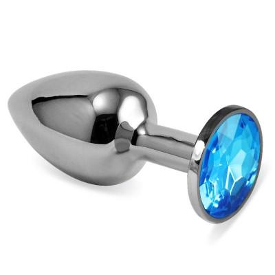 Анальная пробка серебро с голубым стразом S 2,8 х 7,6 47111-MM
