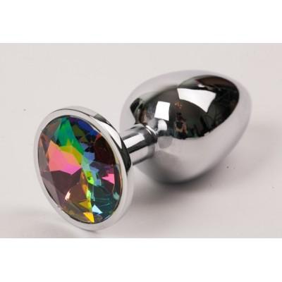 Анальная пробка серебро с радужным стразом 2,8 х 7,6 47112-ММ