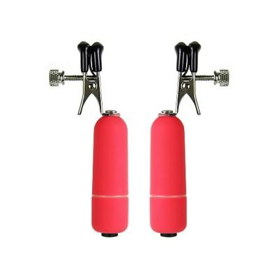 Клипсы на соски с вибрацией красные SH-OU039RED