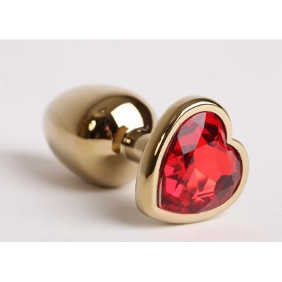 Анальная пробка золото 7,5 х 2,8 см с сердечком красный страз размер-S 47189-MM