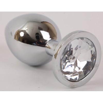 Анальная пробка серебряная с прозрачным кристаллом L 9,5х4см 47064-2-MM