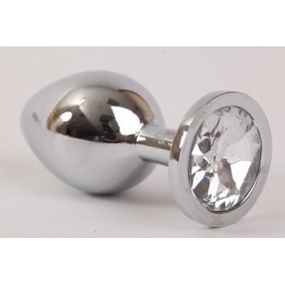 Анальная пробка серебряная с прозрачным кристаллом M 3,4х8,2 47064-1-MM