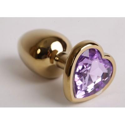 Анальная пробка золото 7,5х2,8см с сердечком сиреневый страз 47191-MM