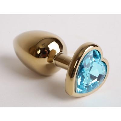 Анальная пробка золото 8х3,5см с сердечком голубой страз 47194-1-MM