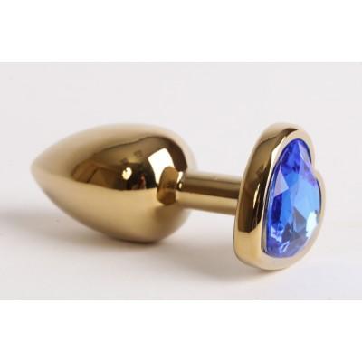 Анальная пробка золото 8х3,5см с сердечком синий страз 47190-1-MM