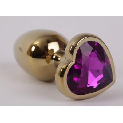 Анальная пробка золото 8х3,5см с сердечком фиолетовый страз размер-L 47192-1-MM