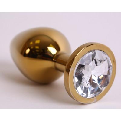 Анальная пробка золото со вставкой белый страз 3,4х8,2 47005-1-MM