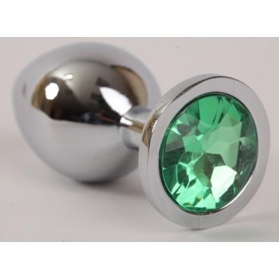 Анальная пробка серебряная с зеленым кристаллом 3,4х8,2 47046-1-MM