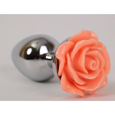 Анальная пробка металлическая с розой цвет-лосось 2,8х7,6 47182-MM