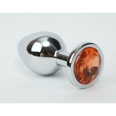 Анальная пробка металл 3,4х8,2 серебро желтый страз 47019-1MM