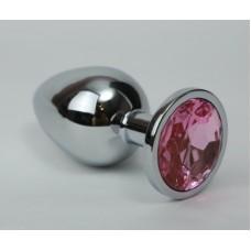Анальная пробка 4х9,5 серебро розовый страз 47021-2MM