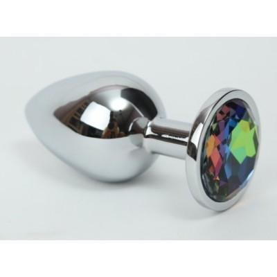 Анальная пробка серебро с радужным стразом 3,4х8,2 47112-1ММ