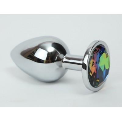 Анальная пробка серебро с радужным стразом 4х9,5 47112-2ММ