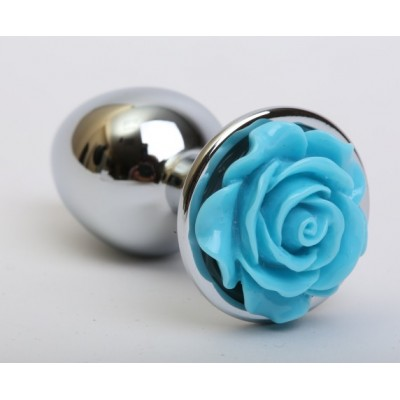 Анальная пробка металл с розой голубая 2,8х7,6 47185-MM