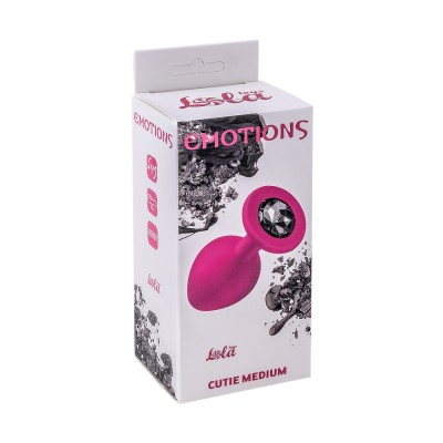 Анальная пробка Emotions Cutie Medium Pink black crystal 4012-01Lola