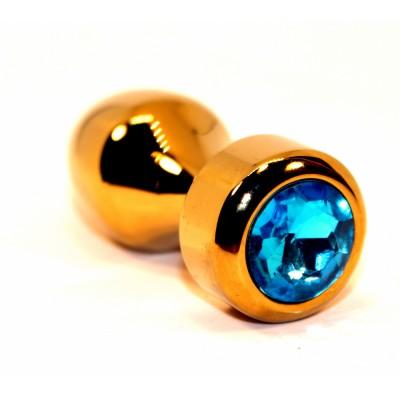 Анальная пробка металл золото с голубым стразом 7,8х2,9см 47443-1MM