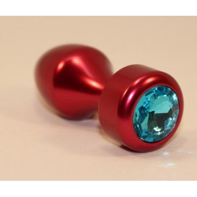 Анальная пробка металл красная с голубым стразом 7,8х2,9см 47441-1MM