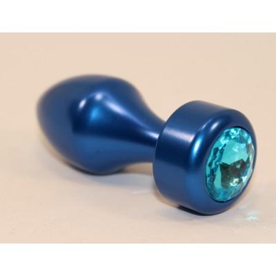 Анальная пробка металл синяя с голубым стразом 7,8х2,9см 47442-1MM