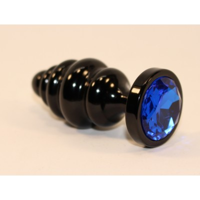 Анальная пробка фигурная 3,5 х 8,2 см металл черная синий страз 47474-3MM